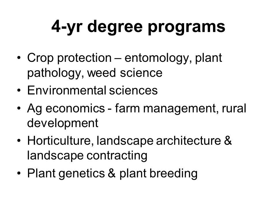 4-yr degree programs Crop protection – entomology, plant pathology, weed science Environmental sciences Ag economics - farm management, rural developm