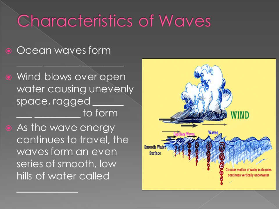 Ocean waves form _____ _______ ________  Wind blows over open water causing unevenly space, ragged ______ ___ _________ to form  As the wave energ