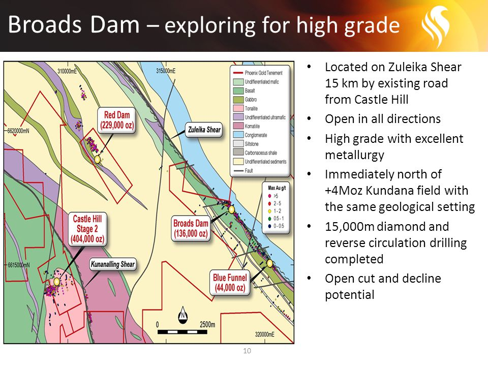 Broads Dam – exploring for high grade 10 Located on Zuleika Shear 15 km by existing road from Castle Hill Open in all directions High grade with excellent metallurgy Immediately north of +4Moz Kundana field with the same geological setting 15,000m diamond and reverse circulation drilling completed Open cut and decline potential