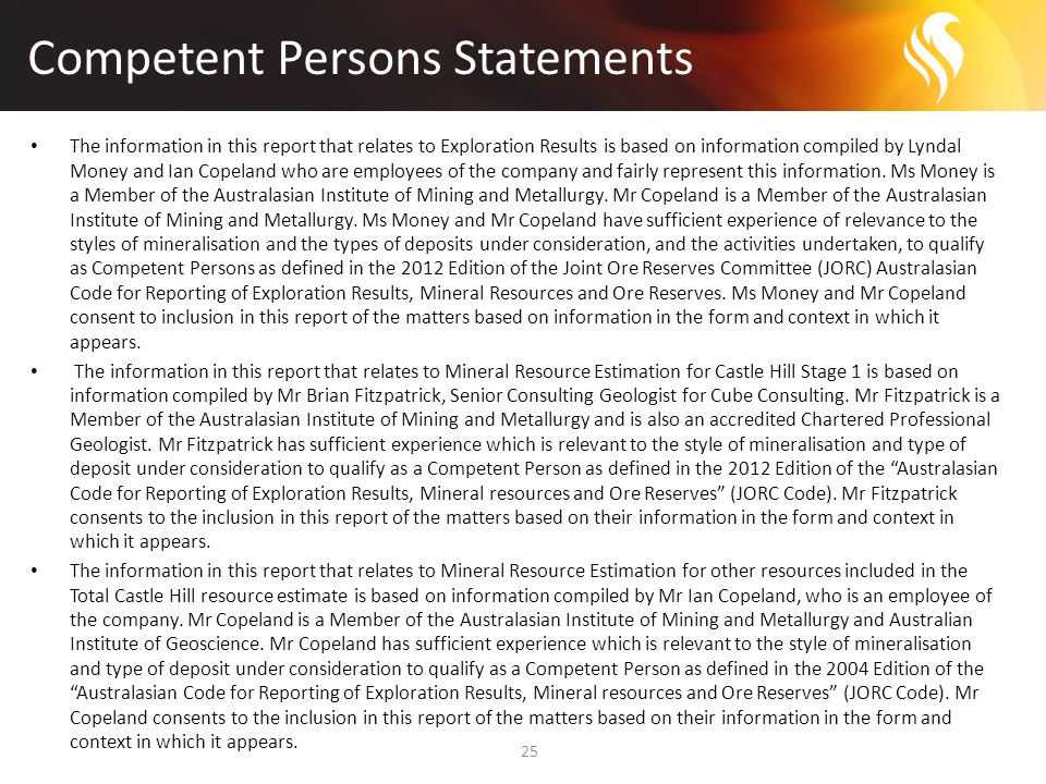 Competent Persons Statements 25 The information in this report that relates to Exploration Results is based on information compiled by Lyndal Money and Ian Copeland who are employees of the company and fairly represent this information.