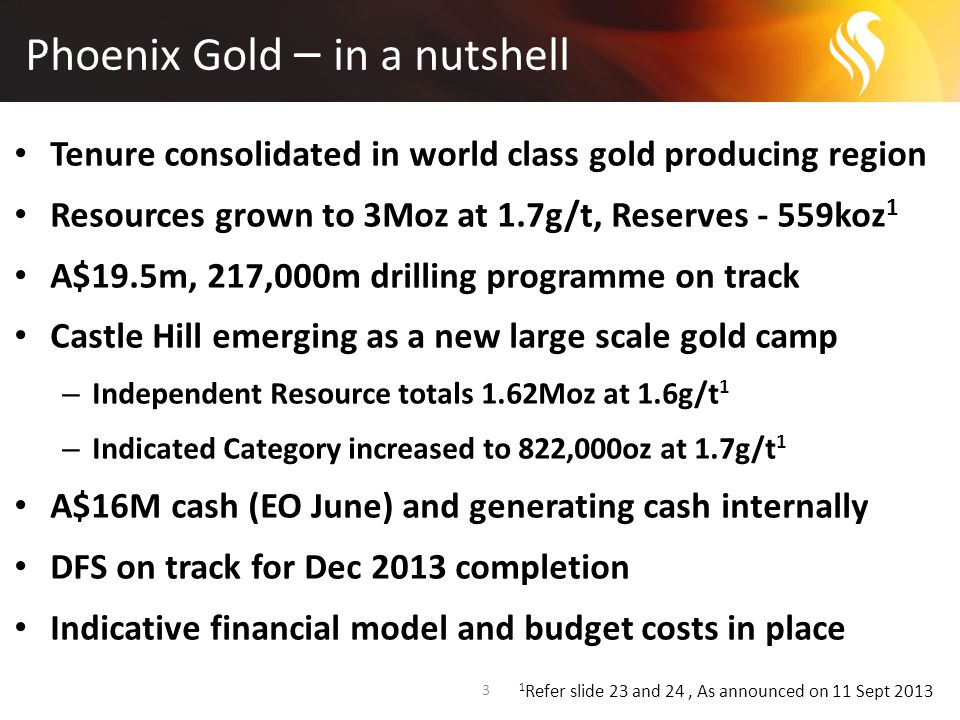 Phoenix Gold – in a nutshell 3 Tenure consolidated in world class gold producing region Resources grown to 3Moz at 1.7g/t, Reserves - 559koz 1 A$19.5m, 217,000m drilling programme on track Castle Hill emerging as a new large scale gold camp – Independent Resource totals 1.62Moz at 1.6g/t 1 – Indicated Category increased to 822,000oz at 1.7g/t 1 A$16M cash (EO June) and generating cash internally DFS on track for Dec 2013 completion Indicative financial model and budget costs in place 1 Refer slide 23 and 24, As announced on 11 Sept 2013