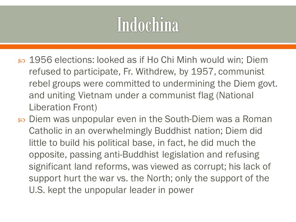  1956 elections: looked as if Ho Chi Minh would win; Diem refused to participate, Fr.