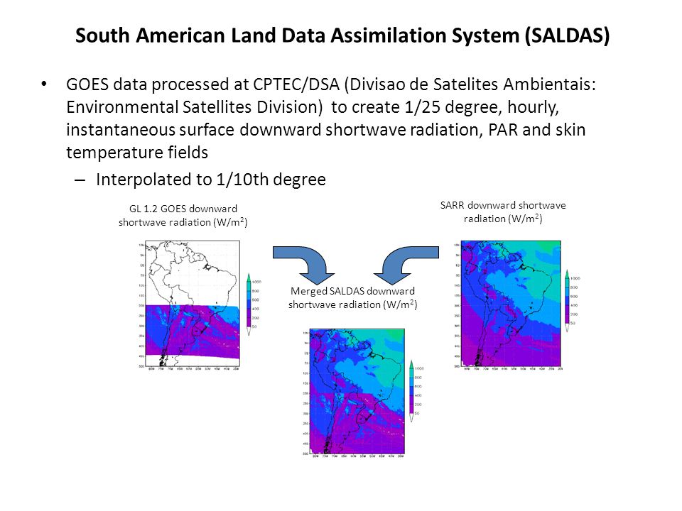 GOES data processed at CPTEC/DSA (Divisao de Satelites Ambientais: Environmental Satellites Division) to create 1/25 degree, hourly, instantaneous sur