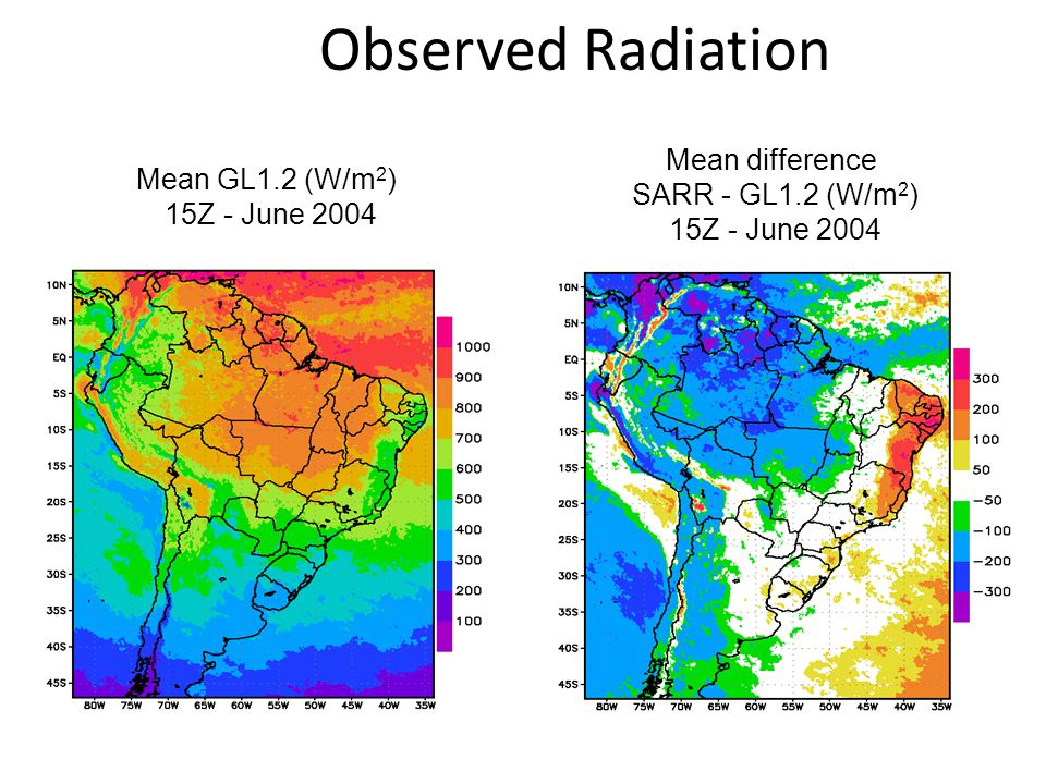 Mean difference SARR - GL1.2 (W/m 2 ) 15Z - June 2004 Mean GL1.2 (W/m 2 ) 15Z - June 2004 Observed Radiation