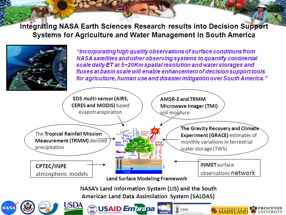 "Integrating NASA Earth Sciences Research results into Decision Support Systems for Agriculture and Water Management in South America ""Incorporating hi"