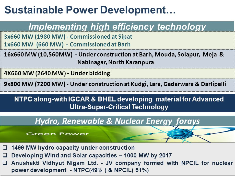 36 Implementing high efficiency technology Sustainable Power Development… Hydro, Renewable & Nuclear Energy forays  1499 MW hydro capacity under cons