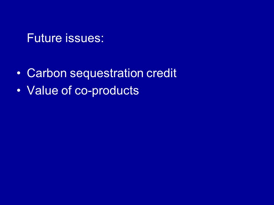 Future issues: Carbon sequestration credit Value of co-products