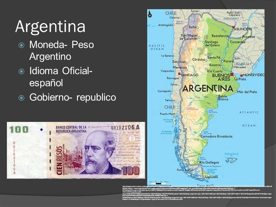 Argentina  Moneda- Peso Argentino  Idioma Oficial- español  Gobierno- republico https://images.search.yahoo.com/images/view;_ylt=AwrB8pZD5AtT.n4AxqGJzbkF;_ylu=X3oDMTIyMDkycnJlBHNlYwNzcgRzbGsDaW1nBG9pZAMzZmU2MjI2ODU1NjM3ZTNkYTNkNWEwNTUzZmMxNjhmOARncG9zAzE EaXQDYmluZw-- back=https%3A%2F%2Fimages.search.yahoo.com%2Fsearch%2Fimages%3F_adv_prop%3Dimage%26va%3DArgentina%2Bmap%26fr%3Dyfp-t- 600%26tab%3Dorganic%26ri%3D1&w=1412&h=2136&imgurl=www.ezilon.com%2Fmaps%2Fimages%2Fsouthamerica%2FArgentina-map.gif&rurl=http%3A%2F%2Fwww.ezilon.com%2Fmaps%2Fsouth- america%2Fargentina-road- maps.html&size=527.9KB&name=america+%3Cb%3Emap+%3C%2Fb%3Eoceania+%3Cb%3Emap+argentina+map+%3C%2Fb%3Eroad+%3Cb%3Emap+%3C%2Fb%3Eof+%3Cb%3Eargentina%3C%2Fb%3E&p=Argen tina+map&oid=3fe6226855637e3da3d5a0553fc168f8&fr2=&fr=yfp-t- 600&tt=america+%3Cb%3Emap+%3C%2Fb%3Eoceania+%3Cb%3Emap+argentina+map+%3C%2Fb%3Eroad+%3Cb%3Emap+%3C%2Fb%3Eof+%3Cb%3Eargentina%3C%2Fb%3E&b=0&ni=200&no=1&ts=&tab=organ ic&sigr=121ds5f8o&sigb=13c3juolh&sigi=11p3q1461&.crumb=7Vj1TLJFUmn&fr=yfp-t-600