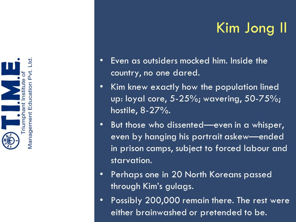 Kim Jong Il Even as outsiders mocked him.Inside the country, no one dared.