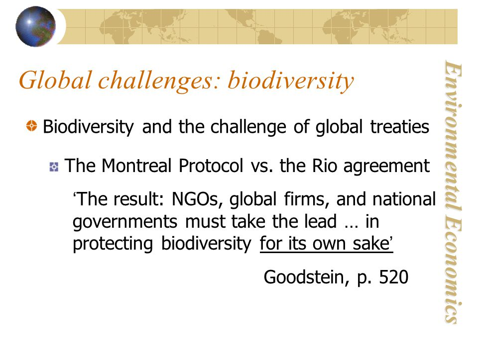 Environmental Economics Global challenges: biodiversity Biodiversity and the challenge of global treaties The Montreal Protocol vs.