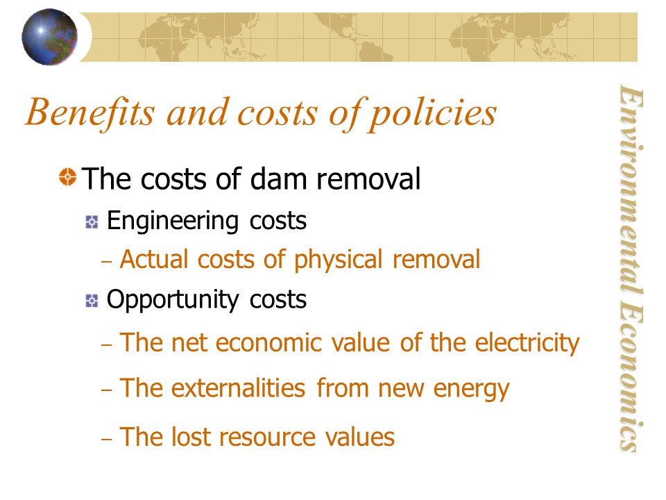 Environmental Economics Benefits and costs of policies The costs of dam removal Engineering costs – Actual costs of physical removal Opportunity costs – The net economic value of the electricity – The externalities from new energy – The lost resource values