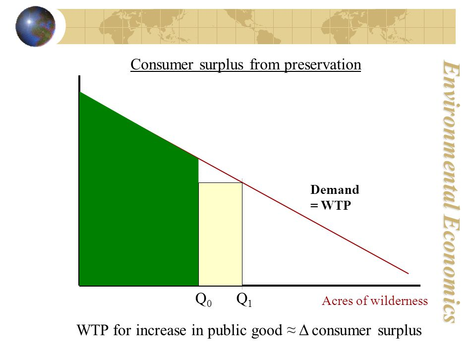 Environmental Economics Demand = WTP Q1Q1 Q0Q0 Consumer surplus from preservation Acres of wilderness WTP for increase in public good ≈ Δ consumer surplus