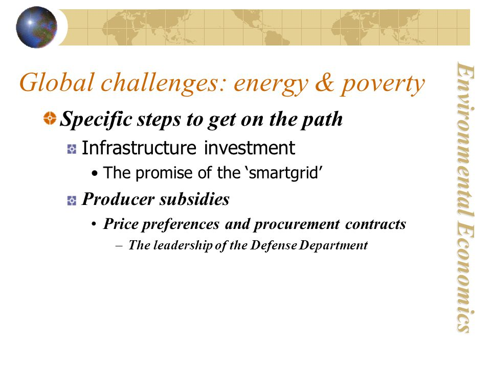 Environmental Economics Global challenges: energy & poverty Specific steps to get on the path Infrastructure investment The promise of the 'smartgrid' Producer subsidies Price preferences and procurement contracts –The leadership of the Defense Department