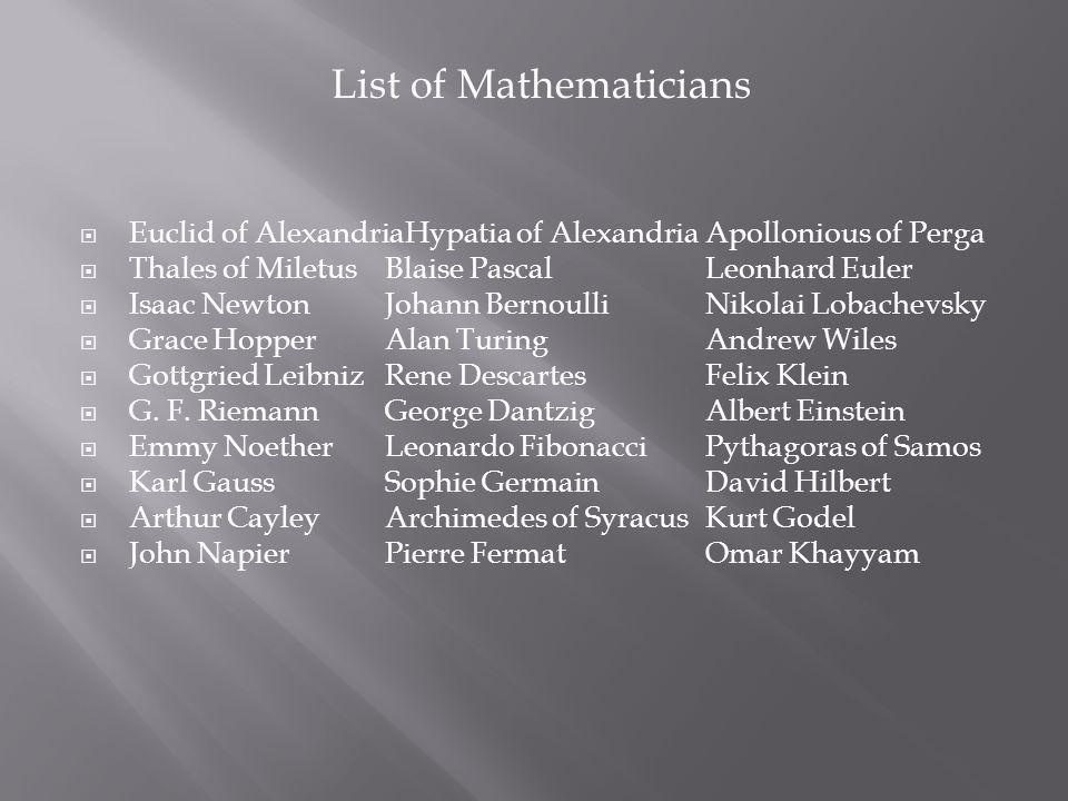List of Mathematicians  Euclid of AlexandriaHypatia of AlexandriaApollonious of Perga  Thales of MiletusBlaise PascalLeonhard Euler  Isaac NewtonJohann BernoulliNikolai Lobachevsky  Grace HopperAlan TuringAndrew Wiles  Gottgried LeibnizRene DescartesFelix Klein  G.