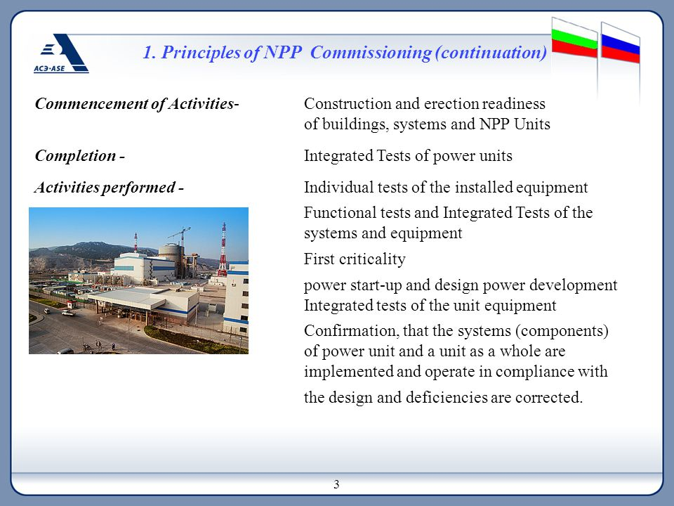 1. Principles of NPP Commissioning (continuation) Commencement of Activities- Construction and erection readiness of buildings, systems and NPP Units