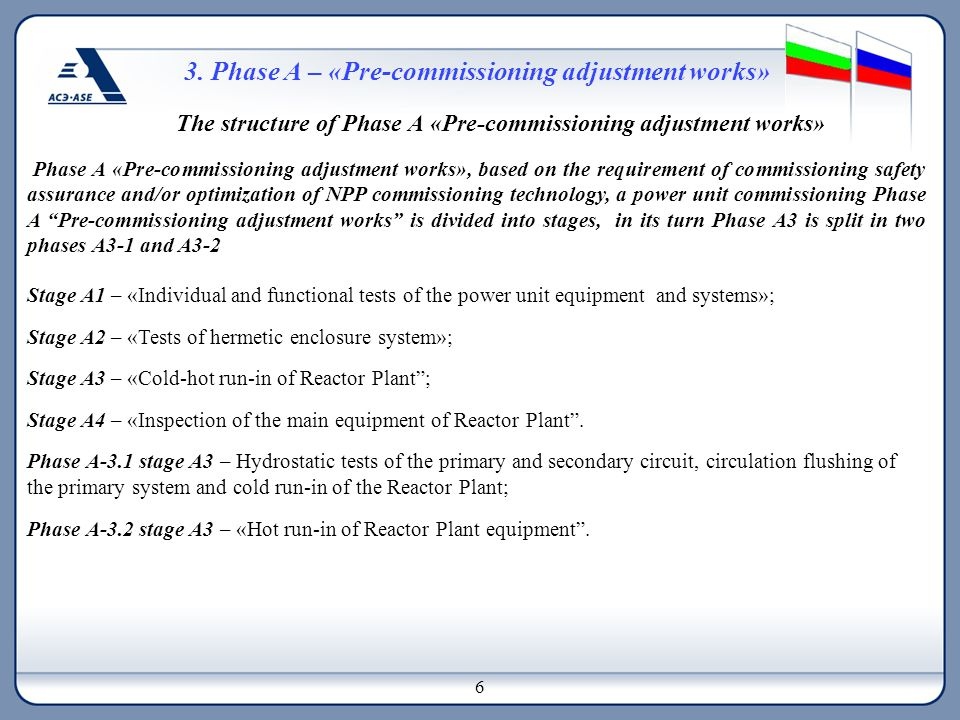 3. Phase А – «Pre-commissioning adjustment works» The structure of Phase А «Pre-commissioning adjustment works» Phase А «Pre-commissioning adjustment