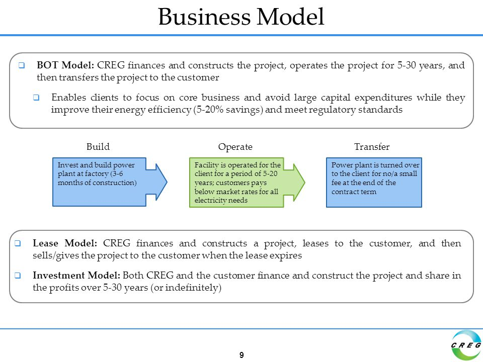 Business Model  BOT Model: CREG finances and constructs the project, operates the project for 5-30 years, and then transfers the project to the customer  Enables clients to focus on core business and avoid large capital expenditures while they improve their energy efficiency (5-20% savings) and meet regulatory standards BuildOperateTransfer Invest and build power plant at factory (3-6 months of construction) Facility is operated for the client for a period of 5-20 years; customers pays below market rates for all electricity needs Power plant is turned over to the client for no/a small fee at the end of the contract term  Lease Model: CREG finances and constructs a project, leases to the customer, and then sells/gives the project to the customer when the lease expires  Investment Model: Both CREG and the customer finance and construct the project and share in the profits over 5-30 years (or indefinitely) 9