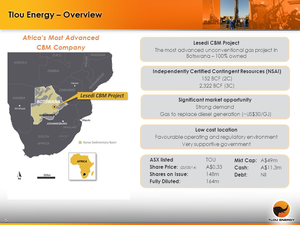 Tlou Energy – Overview Africa's Most Advanced CBM Company Lesedi CBM Project The most advanced unconventional gas project in Botswana – 100% owned Independently Certified Contingent Resources (NSAI) 152 BCF (2C) 2,322 BCF (3C) Significant market opportunity Strong demand Gas to replace diesel generation (~US$30/GJ) Low cost location Favourable operating and regulatory environment Very supportive government 5 ASX listed TOU Share Price: (20/05/14) A$0.33 Shares on Issue: 148m Fully Diluted: 164m Mkt Cap: A$49m Cash: A$11.3m Debt: Nil