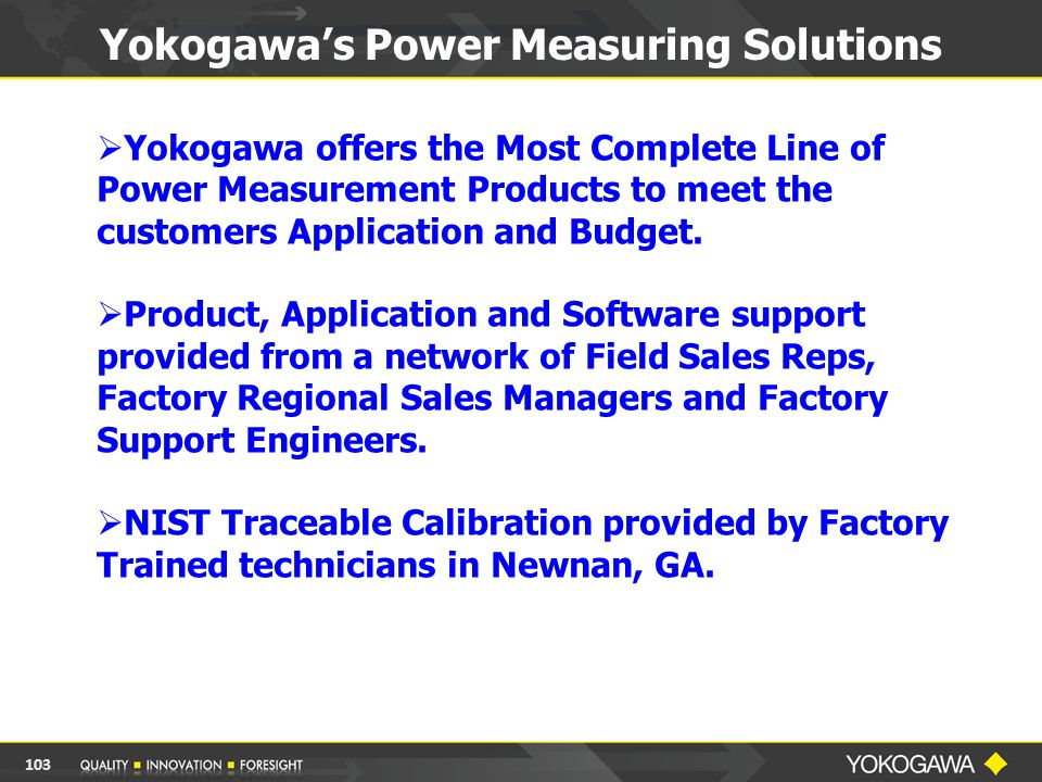  Yokogawa offers the Most Complete Line of Power Measurement Products to meet the customers Application and Budget.