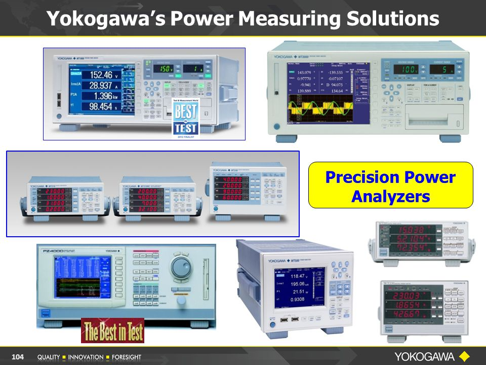 Yokogawa's Power Measuring Solutions Precision Power Analyzers 104