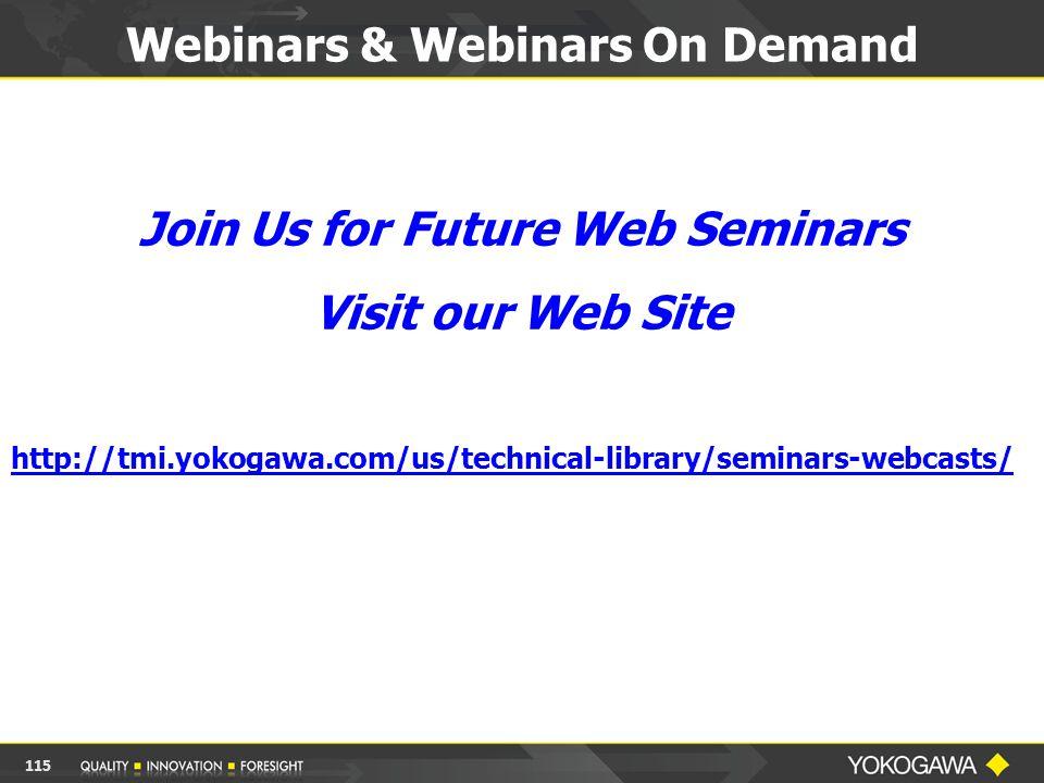 Webinars & Webinars On Demand 115 Join Us for Future Web Seminars Visit our Web Site http://tmi.yokogawa.com/us/technical-library/seminars-webcasts/