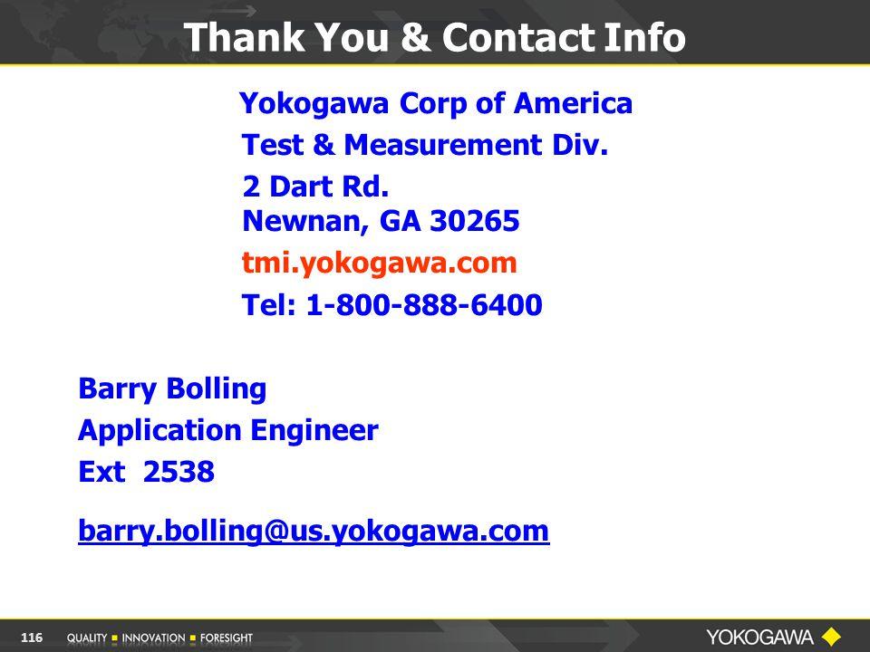 Yokogawa Corp of America Test & Measurement Div.2 Dart Rd.