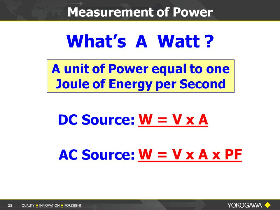 Measurement of Power What's A Watt ? DC Source: AC Source: W = V x A W = V x A x PF A unit of Power equal to one Joule of Energy per Second 13