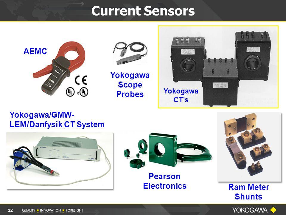 Current Sensors Ram Meter Shunts Yokogawa CT's AEMC Yokogawa/GMW- LEM/Danfysik CT System Yokogawa Scope Probes Pearson Electronics 22