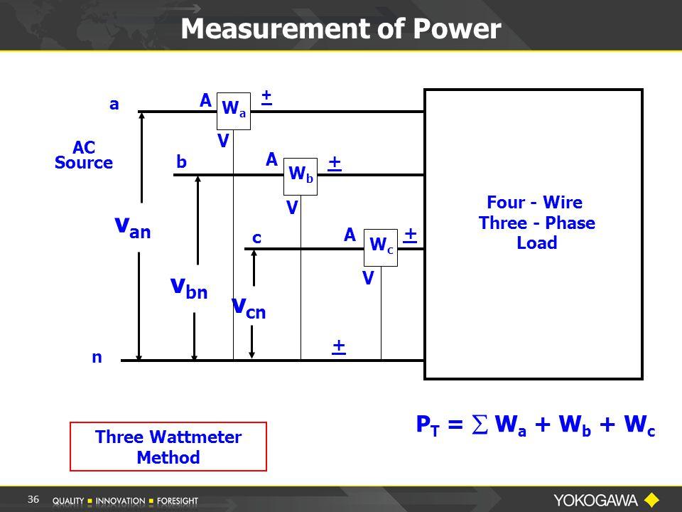 Measurement of Power a b c n v an v bn v cn Four - Wire Three - Phase Load WaWa WbWb WcWc P T =  W a + W b + W c AC Source A A + A Three Wattmeter Method + + + V V V 36