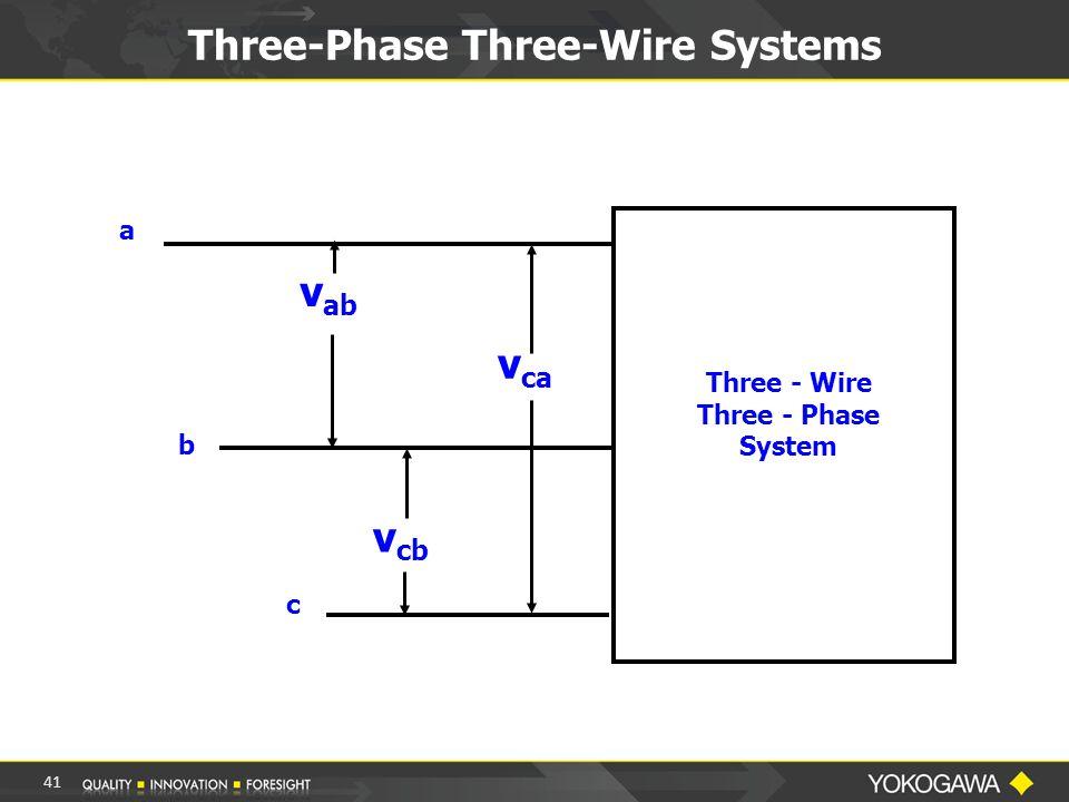 Three-Phase Three-Wire Systems a b c v ab v cb v ca Three - Wire Three - Phase System 41