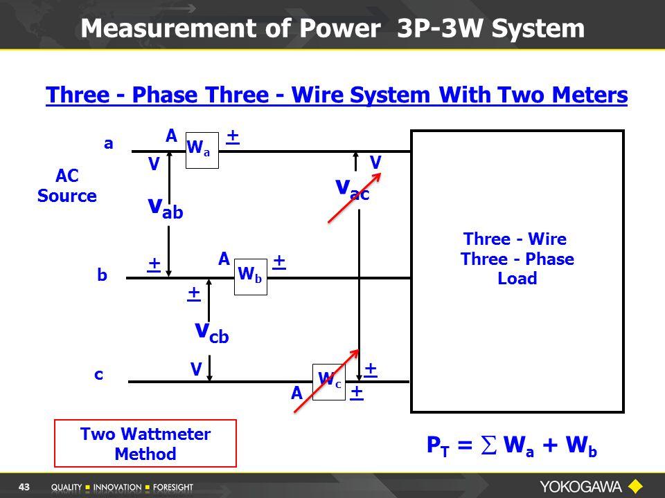 Measurement of Power 3P-3W System AC Source a b c v ac v cb v ab Three - Wire Three - Phase Load WaWa WbWb WcWc A A A V V + V + + + + + Two Wattmeter Method Three - Phase Three - Wire System With Two Meters P T =  W a + W b 43