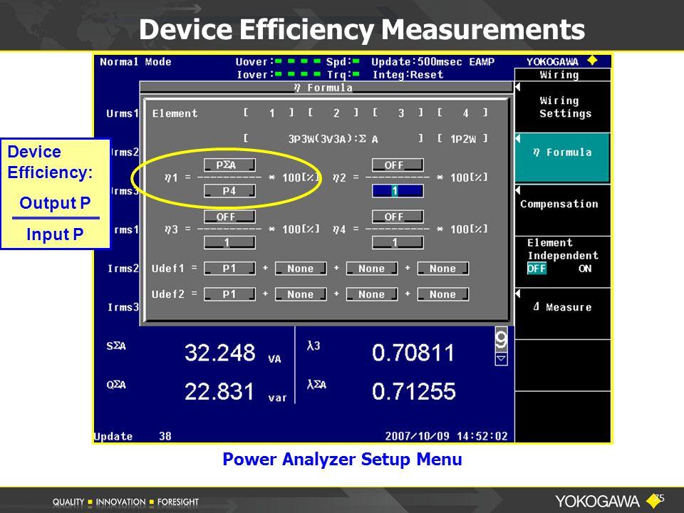 75 Device Efficiency Measurements Device Efficiency: Output P Input P Power Analyzer Setup Menu
