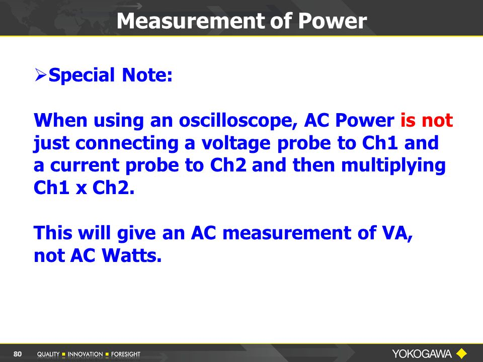  Special Note: When using an oscilloscope, AC Power is not just connecting a voltage probe to Ch1 and a current probe to Ch2 and then multiplying Ch1 x Ch2.