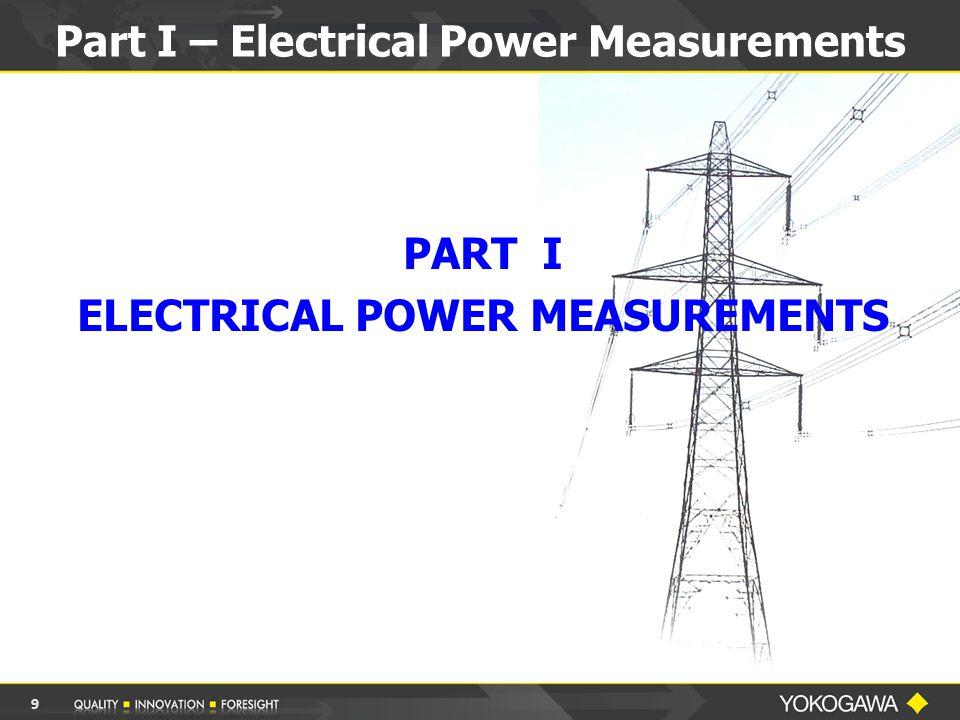Part I – Electrical Power Measurements 9 PART I ELECTRICAL POWER MEASUREMENTS