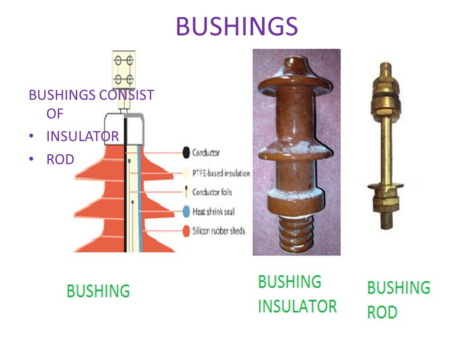 BUSHINGS BUSHINGS CONSIST OF INSULATOR ROD