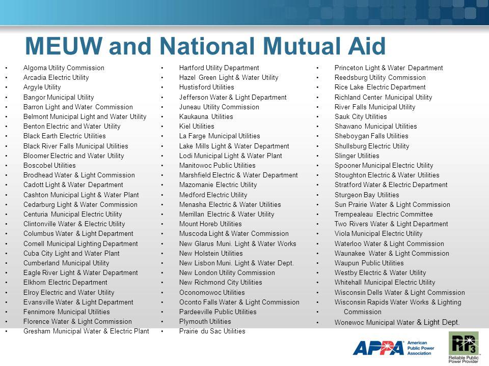 MEUW and National Mutual Aid Algoma Utility Commission Arcadia Electric Utility Argyle Utility Bangor Municipal Utility Barron Light and Water Commiss