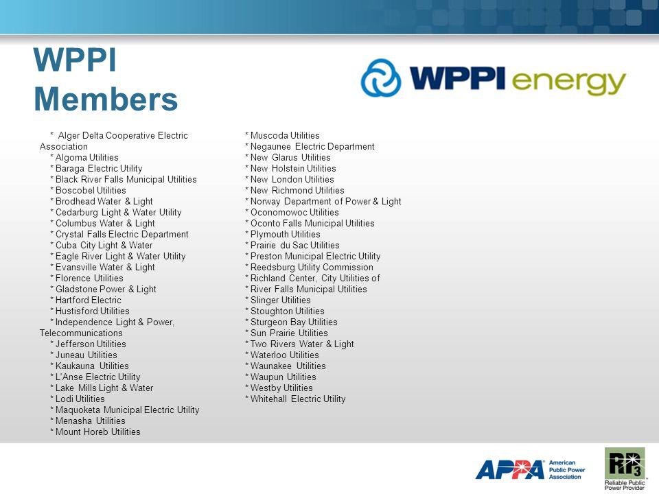 WPPI Members * Alger Delta Cooperative Electric Association * Algoma Utilities * Baraga Electric Utility * Black River Falls Municipal Utilities * Bos