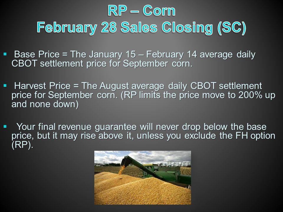 Base Price = The January 15 – February 14 average daily CBOT settlement price for September corn.