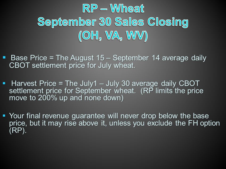 Base Price = The August 15 – September 14 average daily CBOT settlement price for July wheat.