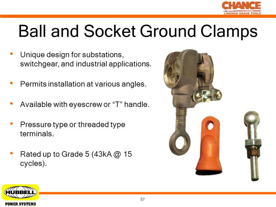 57 Ball and Socket Ground Clamps Unique design for substations, switchgear, and industrial applications. Permits installation at various angles. Avail
