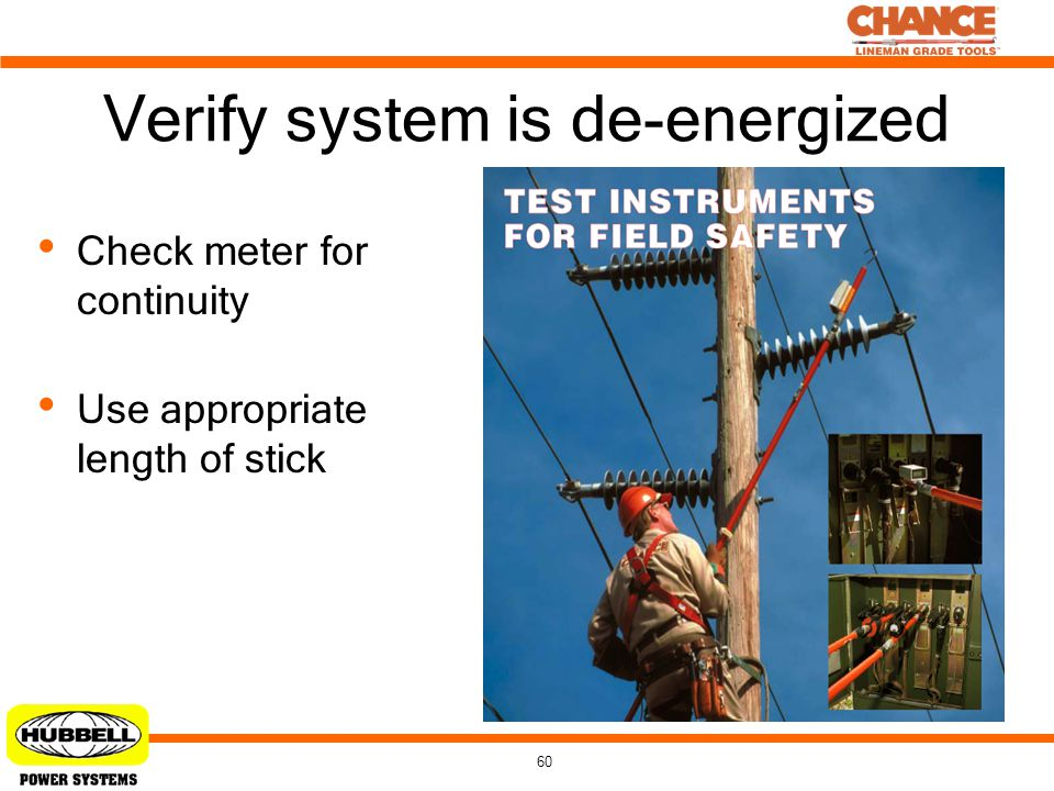 60 Verify system is de-energized Check meter for continuity Use appropriate length of stick