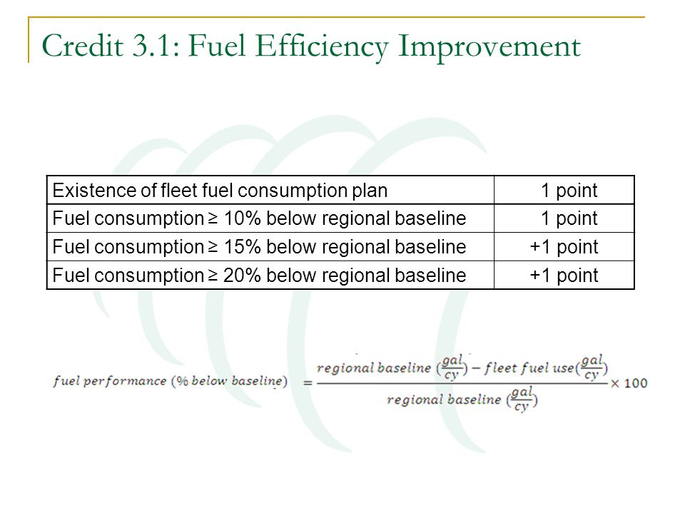Credit 3.1: Fuel Efficiency Improvement Existence of fleet fuel consumption plan 1 point Fuel consumption ≥ 10% below regional baseline 1 point Fuel consumption ≥ 15% below regional baseline +1 point Fuel consumption ≥ 20% below regional baseline +1 point
