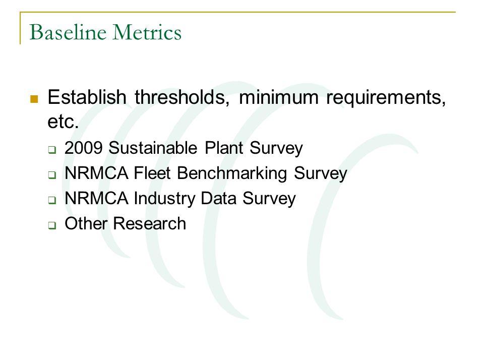 Baseline Metrics Establish thresholds, minimum requirements, etc.