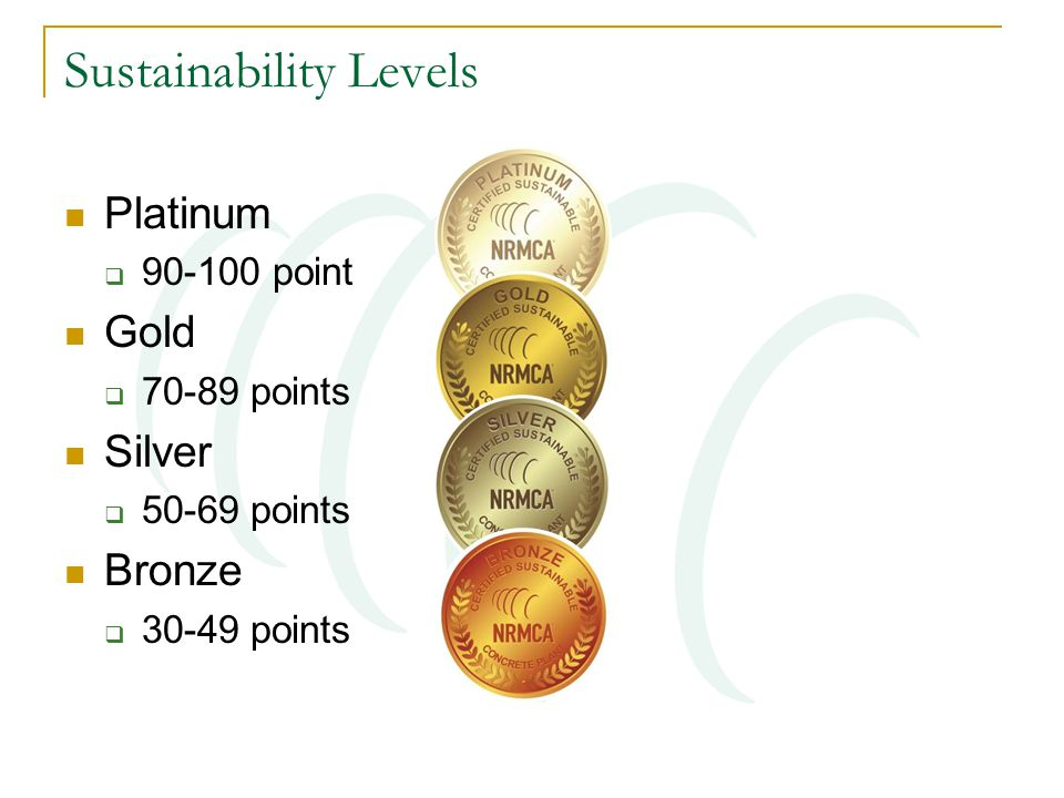 Sustainability Levels Platinum  90-100 point Gold  70-89 points Silver  50-69 points Bronze  30-49 points