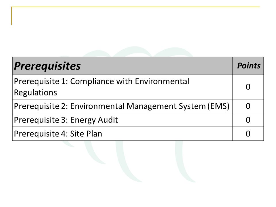 Prerequisites Points Prerequisite 1: Compliance with Environmental Regulations 0 Prerequisite 2: Environmental Management System (EMS)0 Prerequisite 3: Energy Audit0 Prerequisite 4: Site Plan0