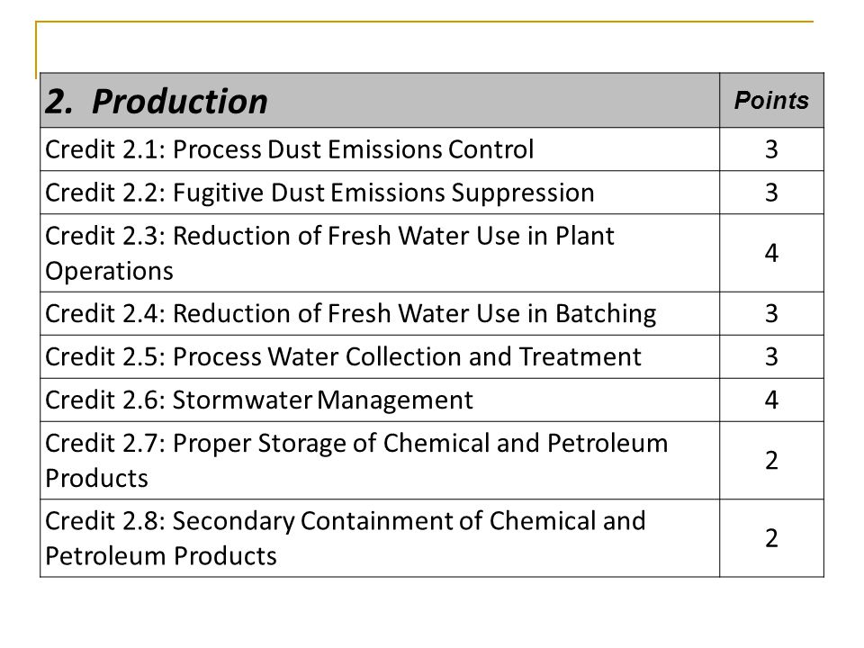 2. Production Points Credit 2.1: Process Dust Emissions Control3 Credit 2.2: Fugitive Dust Emissions Suppression3 Credit 2.3: Reduction of Fresh Water