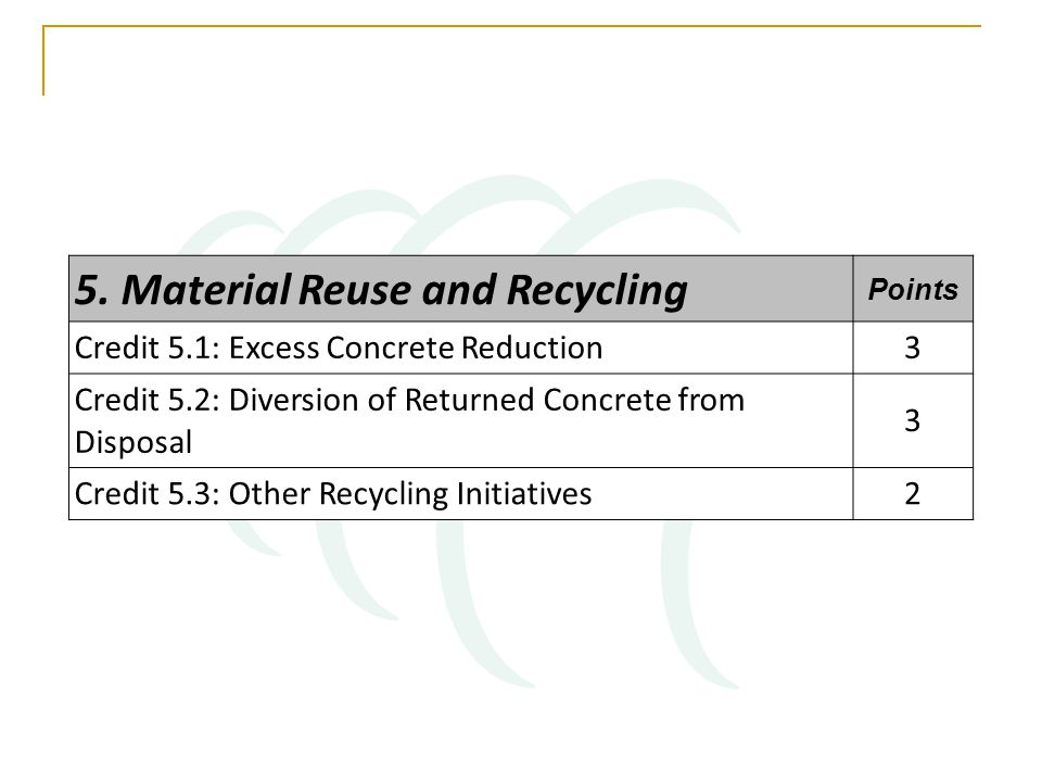 5. Material Reuse and Recycling Points Credit 5.1: Excess Concrete Reduction3 Credit 5.2: Diversion of Returned Concrete from Disposal 3 Credit 5.3: O