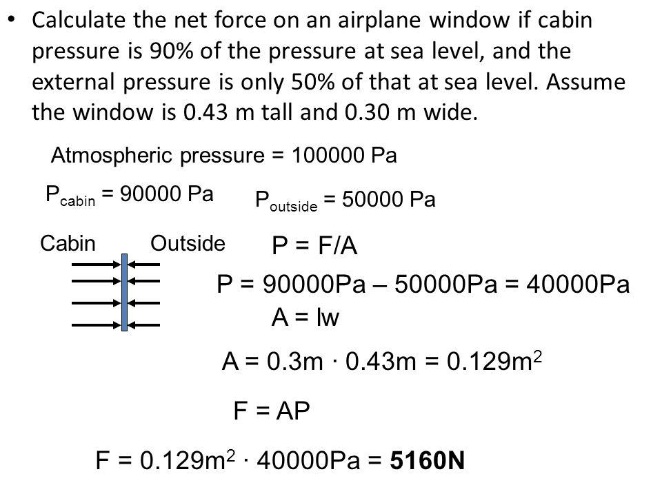 The Pressure of a Liquid – P = ρgh P: pressure (Pa) ρ : density (kg/m 3 ) g: acceleration constant (9.8 m/s 2 ) h: height of liquid column (m) This type of pressure is often called gauge pressure.