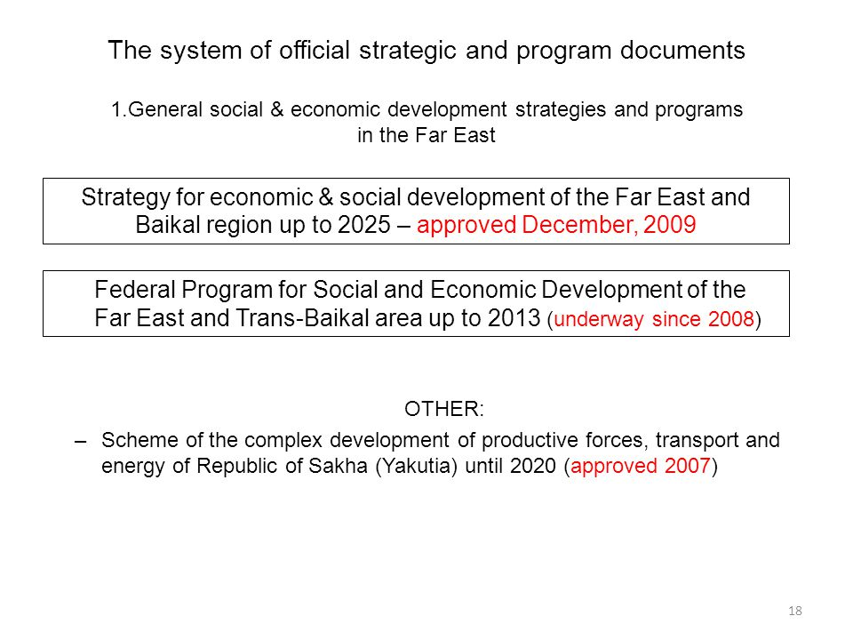 OTHER: –Scheme of the complex development of productive forces, transport and energy of Republic of Sakha (Yakutia) until 2020 (approved 2007) The sys