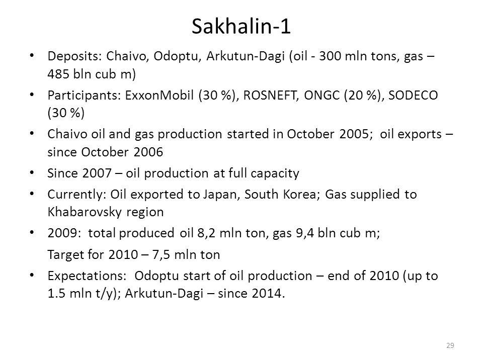 Sakhalin-1 Deposits: Chaivo, Odoptu, Arkutun-Dagi (oil - 300 mln tons, gas – 485 bln cub m) Participants: ExxonMobil (30 %), ROSNEFT, ONGC (20 %), SOD